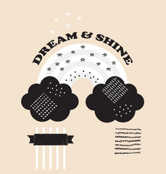 black and white rainbow and clouds dream and shine vector image