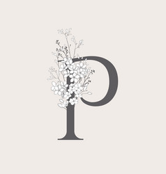Blooming floral initial p monogram and logo vector