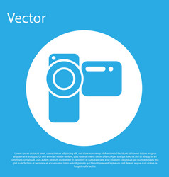 Blue cinema camera icon isolated on blue vector