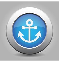 Blue metallic button White anchor icon vector