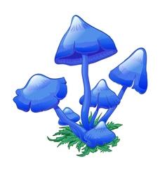 Blue mushroom vector