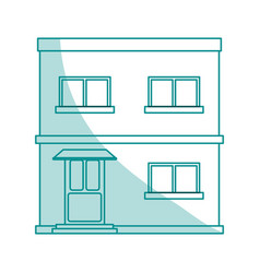 Blue shading silhouette cartoon facade apartment vector
