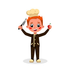 Boy professional chef character holding knife and vector