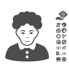 Brunette Woman Icon With Tools Bonus vector