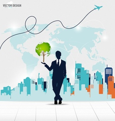 Businessman showing Tree shaped world map with vector image