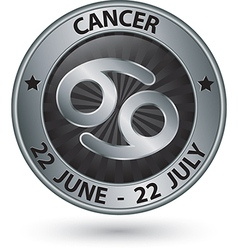 Cancer zodiac silver sign cancer symbol vector image