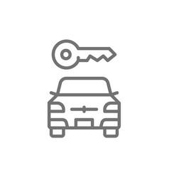 car key automobile blocked line icon vector image