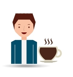 cartoon guy with cup coffee hot design icon vector image
