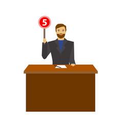 cartoon man judge jury showing or voting hand up vector image
