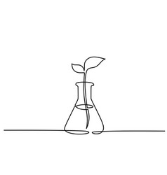 Chemical lab retort with sprout of plant vector
