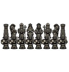 chess cartoon figures black vector image