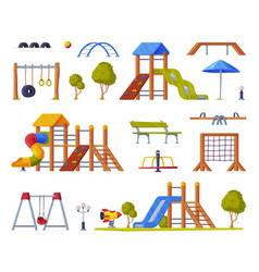 children playground elements with slide swings vector image