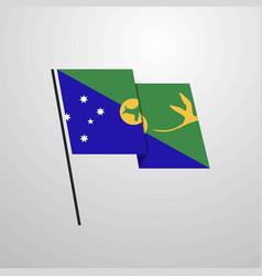 Christmas island waving flag design background vector