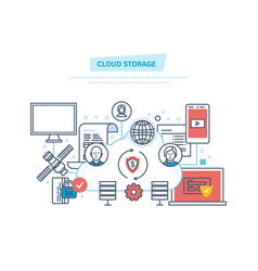cloud storage computing network cloud service vector image