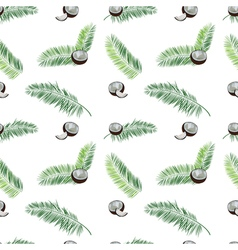 Coconut palm leaves seamless pattern on white vector