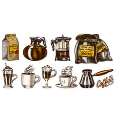 coffee in vintage style a bag grain cinnamon vector image