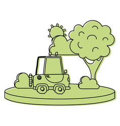 color agrimotor car in the city with tree and sun vector image