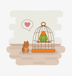 cute little parrot and guinea pig mascots vector image