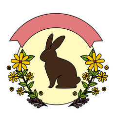 cute rabbit character silhouette with wreath vector image
