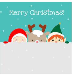 cute santa claus christmas elf and reindeer vector image