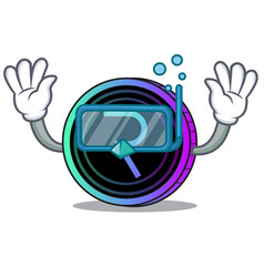Diving request network coin character cartoon vector