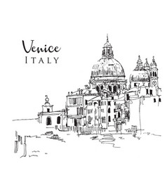 drawing sketch venice italy vector image