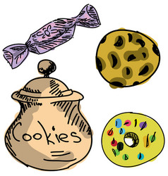 Drawn colored cookies vector