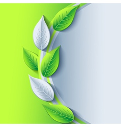 Eco conceptual background with green and gray leaf vector image