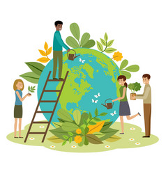 ecology concept people take care about planet vector image
