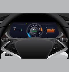 Electric car dashboard display closeup vector