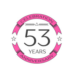 Fifty three years anniversary celebration logo vector