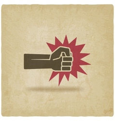 fist punch symbol old background vector image