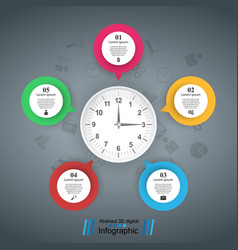 five bubbles paper clock icon vector image