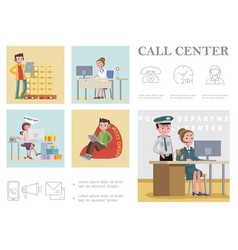 flat call center composition vector image