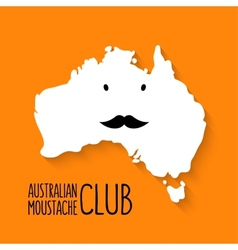 Fun moustache club cartoon australia map vector