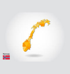 geometric polygonal style map of norway low poly vector image