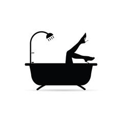 Girl legs in bathtube vector