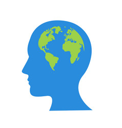 globe in human head icon cartoon of vector image