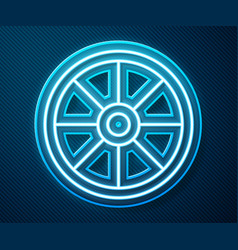 glowing neon line old wooden wheel icon isolated vector image