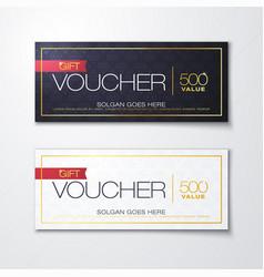 gold gift voucher with diamond premium pattern vector image
