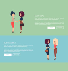 Good business deal st of posters with two women vector