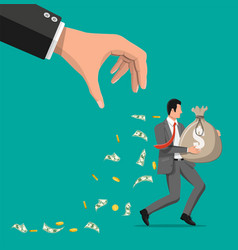 Hand tries to grab money running businessman vector