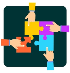 Hands putting multicolor puzzle pieces together vector