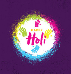 happy holi rainbow splash paint brigh vector image