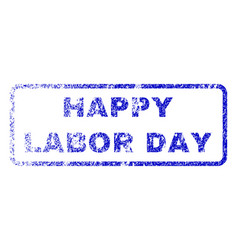 happy labor day rubber stamp vector image