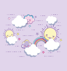 happy sun with fluffy clouds and stars vector image