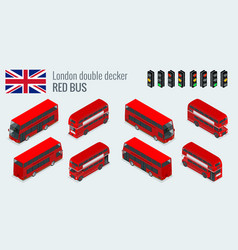 Isometric set of london double decker red bus vector
