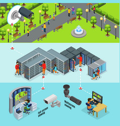 Isometric surveillance system horizontal banners vector
