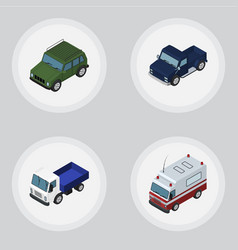 isometric transport set of armored first-aid vector image