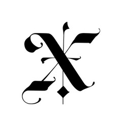 Letter x in gothic style alphabet the symbol vector